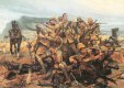 Illustrates the scene at Modderfontein Farm where a squadron of the 17th lancers were pinned down by a large Boer force, and fought to the finish.  Modderfontein Farm in the Eastern Cape, about 10 miles from Tarkastad, was the the battle on the 17th......