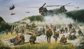 Operation AGRICOLA.  On 12th June 1999, 5 Airborne Brigade spearheaded the KFOR advance into Kosovo by securing the Kacanik Defile ahead of the ground forces.  The Brigade's joint airmobile operation with the UK support helicopter force followed a rapid strategic insertion to theatre.  The painting, commissioned by HQ 5 Airborne Brigade, depicts a composite scene, albeit an accurate interpretation, toward the northern end of the defile early on 12th June.  From the left, a Pathfinder patrol; a Medium Machine Gun team from 1 PARA; a reconnaissance section (in Land Rovers) from 1st Bn Royal Gurkha Rifles; a 3 PARA tom; a mine clearance team from 9 Para Squadron Royal Engineers; 216 Para Signal Squadron TACSAT; with Brigade HQ command group in their rear.  Above are Chinooks from 18 & 27 Squadrons RAF, with a Puma from 33 Squadron RAF on the bridge, with Apache helicopters of the US Army providing flank protection.  The painting is representative of the combined, joint, all-arms grouping of 5 Airborne Brigade on the day.