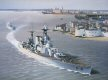 The pride of the Royal Navy, HMS Hood, leaves Portsmouth on her way to the Fleet Review of King George V in July 1935. HMS Hood is followed by the destroyer HMS Express.