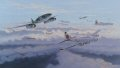 Major Rudolf Rudi Sinner of STAB.III/JG7 attacking B-17s of 91st Bomb Group during March 1945.  Attacking in a Kette of three aircraft from behind and below targeting the tailenders and rising over the B-17s.  Avoiding any debris and evading the incoming fighter escort, who are dropping down from their top cover positions.  Rudolf Sinner acheived a total of 39 victories, including two in the Me262.
