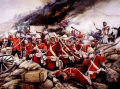 Men of the 24th of foot, or 2nd Warwickshire regiment (later in 1881 to become the South Wales Borderers) repel the massed Zulus attempting to smash through the mealie bag entrenchment. At the conclusion of the battle, hundreds of Zulus lay dead. Ac......