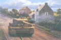 While other Tigers of his command struck northwest and decimated the tanks and half tracks of the Sharpshooters and Rifle Brigade parked along the road towards point 213 and Caen, Haupsturmfuhrer Michel Wittmann attacked on his own to the south east.  Driving his panzer into the village of Villers Bocage. he proceeded to destroy the Stuart and Cromwell tanks of Viscount Arthur Cranleys 4th County of London Yeomanry the Sharpshooters RHQ.  Although subsequently immobilized in the village center, the battle between the British 7th Armoured Division Desert Rats and Wittmanns 101st Heavy Tank Battalion continued for a full day, and blunted the British threat to the German line.