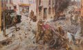 Terence Cuneo has depicted a scene of street violence.  The angry mod hurls abuse, missiles and petrol bombs at the soldiers who are outnumbered and restricted in their ability to repsond.  Rioting of this sort became less prevalent through the incre......