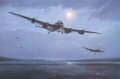 On the night of 16/17th May 1943,under a full moon, 19 specially modified Lancaster bombers from 617 Squadron carried out one of the most daring and effective air raids of the Second World War. Led by wing commander Guy Gibson the 19 aircraft took off and headed for Germany at extreme low level.. Their mission, code named Operation Chastise, was to destroy the Ruhr dams which supplied water and electricity to the industrial heart of Reich. Each aircraft carried the ingenious Upkeep mine, developed by the engineer Barnes Wallis. Shaped like a large oil drum, the bomb was spun prior to release at exactly 60ft above the water and 150 yards from the dam wall. This caused the weapon to bounce across water and on impact would also make it stay close to the wall of the dam as it sank. The bomb, technically a mine, was fitted with a hydrostatic fuse similar to a depth charge causing detonation at the required depth.The correct height above the water was achieved by aligning the beams of two spotlights to meet on the surface of the water. Delivering such a weapon on target at night at such low altitude and under enemy fire was thought by many to be impossible.  The nineteen pilots,some as young as eighteen had been hand picked by Gibson only two months before and formed into 617 squadron whose first mission was to remain top secret and unknown to them up until the last moment. The Mohne Dam was attacked first and several attempts were made under heavy fire with one lancaster being shot down as it flew over the target.Guy Gibson then attempted to draw fire away from the attacking aircraft by switching on his navigation lights and flying to one side of Mick Martins aircraft ,the scene depicted in Simon Smiths painting.Just as another aircraft was about to go in,excited shouts came over the intercom - its gone! The main target achieved, Gibson led the remaining aircraft on to the Eder Dam deep amongst the mountains of the Eder valley. Here, although no flak defenses, the terrain made the approach extremely hazardous. Two bombs were released yet still the target remained unbreached leaving only one last aircraft ,that of Les Knights to attack. A steep descent from a thousand feet then a dive over a spit of land left very little time to line up and release the bomb.Worse still there was a huge mountain on the far side of the dam! Added to this Edward Johnson the bomb aimer recalled that the spinning bomb had an alarming gyroscopic effect on the handling of the aircraft,so it was with superb flying and teamwork that their bomb struck and finally destroyed the massive stonework of the Eder Dam. Gibsons leadership and bravery led to the award of the VC and many other decorations were bestowed upon the other crews.The squadron however paid a heavy price with 8 lancasters being lost.