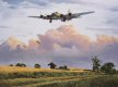 Our Gal Sal, a veteran of over a hundred ops, returning to base in the summer of 1944.  The peace of the  English country side is broken by the thunder of the mighty four engined bombers and keen observers will spot the rabbit scampering along the co......