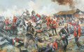 The painting depicts the climax of the Zulu attacks at the defence of Rorkes Drift.  The Zulus were unable to effectively penetrate the mealie bag defenses at Rorkes Drift, even though they succeeded in burning down the hospital, and peppering the storehouse with bullet holes.  The confined space available to the British garrison caused a certain degree of physical compression, but this in fact worked against the Zulus, as it drove the defenders closer together with the result being that the volley fire from the defenders was concentrated and subsequently very effective at close range, as opposed to the spread out skirmish line type formation used at Isandlwhana.  The Zulu attacks�also became uncoordinated, being driven forward by charismatic individuals, but lacking the support of the necessary numbers needed to overwhelm the desperate defenders, who now appreciated that  they were literally fighting for their lives.