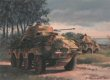 Juno Beach, Normandy, 6th June 1944.  Sdkfz 232 armoured cars of 12th SS Reconnaissance Battalion commanded by  Obersturmfuhrer Peter Hansmann observe the Canadian beachhead at Juno Beach.  His small team was tasked with finding out if an invasion was actually underway and it drove some 80km, arriving at the coast near Tracy at 7.30 in the morning to witness the landings in progress.