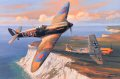 Mickey Mount, flying his 602 Squadron MkII Spitfire, successfully attacks a Messerschmitt Me109 low over the cliffs of Beachy Head on the south coast during the Battle of Britain in the summer of 1940. Spitfires and Me109s were so evenly matched at ......