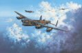 Piloted by RAAF skipper T.N.Scholefield, No. 467 Squadrons Lancaster S For Sugar, one of RAF Bomber Commands most famous Lancs, heads out on her 100th mission on May 11, 1944. Embellished with a bomb symbol painted on the fuselage signifying each raid completed, and the infamous Hermann Goering quotation No enemy plane will fly over the Reich Territory, the mighty bomber leads a formation bound for Germany. In total she completed 137 bombing raids. Today, beautifully restored, S For Sugar proudly rests in the RAF Bomber Command Museum at Hendon, London. <br><br><i>This print has some light handling damage to outer edge of border.  If we sold framed prints, we would frame these up and sell them as new, the damage is so light.  Instead we have reduced the price online to reflect the minor damage. <br><a href=https://www.military-art.com/mall/border-damage.php>Please click here for a list of all our stock in this category.</a></b><br><br>