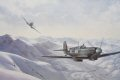 A 225 Squadron TAC/R pair returning from Bologna over the Apennines, January 1945. EN199, The Malta Spitfire is being flown by F/O A.S. Holt (the artist) with F/O Kurt Taussig weaving. ......