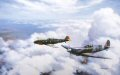 Symbolically Johnnie Johnsons Spitfire Mk9 flies with Adolf Gallands ME109E on the 60th anniversary of the Battle of Britain. The two top scoring fighter aces represent all the pilots of the Allies and the Luftwaffe who fought against each other in ......