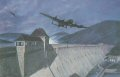 On the night of 16th / 17th May 1943, Lancasters of 617 Squadron under the command of Wing Commander Guy Gibson attacked the hydroelectric dams of the Ruhr.  Five of the aircraft that successfully attacked and breached the Mohne flew onto the Eder, only three with the Upkeep bombs still on board.  Whilst there was no flak, the approach, over difficult terrain, was hazardous and a tremendous test of skills of the crews involved.  Pilot Officer Les Knights aircraft, AFN, can be seen having just dropped the last of the groups bombs, which actually breached the dam, and is climbing steeply to avoid the hill behind the dam.