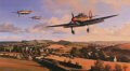 Hurricanes of 87 Squadron return to their West Country base after repelling attacks by Luftwaffe bombers on nearby aircraft factories, August 1940. Flight Lieutenant Ian Gleeds Hurricane, in which he scored 20 victories, leads the Squadron pilots ba......