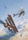 The dramatic scene depicts an aerial dog-fight between Sopwith Camels and SE5A fighters of the Royal Flying Corps, and the bright red planes of Baron von Richthofens JG1 fighter wing. High over Northern France, the highly manoeuvrable fighters wheel and turn in the cauldron of close aerial combat, the artist bringing alive that evocative era when aerial combat first began.