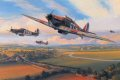 Hurricanes of 43 Squadron scramble from an airfield in southern England during the height of the Battle of Britain, 1940. The R.A.F.s first 300mph fighter, the Hurricane proved itself a formidable aerial gun platform, its pilots accounting for four-......