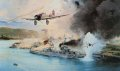 December 7, 1941. Japanese Aichi dive-bombers make a final attempt to destroy the USS Nevada as she lay beached at Hospital Point. Behind her the destroyer USS Shaw is on fire, moments later she will explode. In the docks beyond, the battleship Penn......