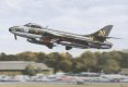 Probably the most graceful jet aircraft ever, yet in its time deadly and effective, a Hawker Hunter of the Old Flying Machine Company who are based at Duxford in England, gets airborne for another majestic display in the hands of the late Mark Hanna.......