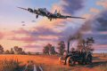 B-17 Fortresses of the Bloody Hundredth- the Eighth Air Forces 100th Bomb Group - return to Thorpe Abbotts following a raid on enemy oil refineries, September 11, 1944. Nicolas Trudgians moving tribute to the Bloody Hundredth shows the imaginatively named B-17, Heaven Can Wait, on final approach to Thorpe Abbotts after the intense battle on September 11, 1944. Skilfully piloted by Harry Hempy, the seriously damaged B-17G has struggled 500 miles home on two engines to make it back to England. They lost their tail gunner that fateful day. Below the descending bomber stream, an agricultural traction engine peacefully ploughs the wheat stubble in preparation for next year's vital crop, the farm workers oblivious to the unimaginable traumas so recently experienced by the crews of the returning B-17 Fortresses.