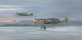 The roar of Daimler-Benz engines at full power awakens the day as Gunther Lutzow, his aircraft still in the markings of his previous unit JG51, leads his Me109Fs of JG3 into combat from a snow covered airfield at Schatalowka on the Russian Front, in......