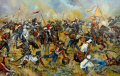 The Battle of Aliwal was fought on 28th January 1846 between the British and the Sikhs.  The British were led by Sir Harry Smith, while the Sikhs were led by Ranjodh Singh Majithia.  The British won a victory which is sometimes regarded as the turning point of the First Anglo-Sikh War.  The Sikhs had occupied a position 4 miles (6.4 km) long, which ran along a ridge between the villages of Aliwal, on the Sutlej, and Bhundri.  The Sutlej ran close to their rear for the entire length of their line, making it difficult for them to manoeuvre and also potentially disastrous if they were forced to retreat.  After the initial artillery salvoes, Smith determined that Aliwal was the Sikh weak point.  He sent two of his four infantry brigades to capture the village, from where they could enfilade the Sikh centre.  They seized the village, and began pressing forwards to threaten the fords across the Sutlej.  As the Sikhs tried to swing back their left, pivoting on Bhundri, some of their cavalry tried to threaten the open British left flank.  A British and Indian cavalry brigade, led by the 16th Lancers, charged and dispersed them.  The 16th Lancers then attacked a large body of Sikh infantry.  These were battalions organised and trained in contemporary European fashion by Neapolitan mercenary, Paolo Di Avitabile.  They formed square to receive cavalry, as most European armies did.  Nevertheless, the 16th Lancers broke them, with heavy casualties.  The infantry in the Sikh centre tried to defend a nullah (dry stream bed), but were enfiladed and forced into the open by a Bengal infantry regiment, and then cut down by fire from Smith&#39;s batteries of Bengal Horse Artillery.  Unlike most of the battles of both Anglo-Sikh Wars, when the Sikhs at Aliwal began to retreat, the retreat quickly turned into a disorderly rout across the fords.  Most of the Sikh guns were abandoned, either on the river bank or in the fords, along with all baggage, tents and supplies.  They lost 2,000 men