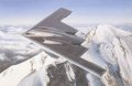 Pinnacles of technology and nature at the roof of the world.  Northrop Grumman B2 Spirit from Wightman AFB, Missouri soars high over majestic snow-covered peaks, still climbing to its operational altitude of 50,000 feet.