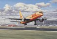 Resplendent in the striking new red and yellow corporate livery, Boeing 757 SF freighter OO-DPJ, the first to bear the new colours, lifts off from Brussels National Airport, DHL's European hub.