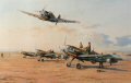 Hans-Joachim Marseille makes a jubilant low pass as he returns to his desert airstrip having just achieved his 100th victory.  In the foreground his fellow pilots are seen clambering out of their Me109s having just completed another successful mission.