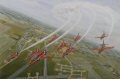 The Royal Air Force Aerobatic Team, The Red Arrows, perform a roll in Lancaster formation over their base at RAF Scampton, the spiritual home of the famous 617 Squadron Dambusters Lancasters.  Each print is signed by the 2009 Red Arrows Team. ......