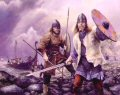 A Viking raiding party comes ashore from their Viking longboat on the western coast of England, 890 A.D.