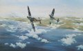 Spitfires of R.C.A.F 144 Wing led by Wing Commander Johnson in combat with ME109s of JG3 over Arromanches, France June 1944. ......