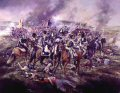Lord Uxbridge commits the Light Dragoons against the French Cuirassiers and Chasseurs, who are driven over the ridge and down the slope. This action happened many times during the battle. ......