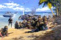 US Marines of the 2nd Battalion, 2nd RCT, 2nd Marine Division, supported by LVTs and tanks, take part in the successful but bloody assault on Betio Island, part of the Tarawa Atoll. Operation Galvanic as it was known became the first step on the island road to Japan itself.