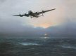 Heavily damaged by flak and with one engine out, a Lancaster slowly makes its way home far behind the main force.