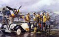BMW 328, Focke-Wulf 190A. James Dietz's grouping of planes, people and vehicles in Tough Day represents a bleak gathering of Jagdgeschwader 2's most colorful Focke-Wulf FW-190As. JG 2 Richthofen was one of the rare Luftwaffe units that campaigned in France from the first day of the 1940 Blitzkrieg to the end of the German occupation. While a Gruppe or Staffel might be sent elsewhere temporarily, JG2 was the stalwart fighter organization in the West. As such, JG2 was witness to the changes in Allied airpower. By the autumn of 1943 there was no question that Allied airpower was rising to unimaginable heights. The Richthofen pilots had battled the RAF in 1941, during the Rhubarb and Circus campaigns. In the Spring of 1942 the unit began a major conversion to the new FW-190, which provided a brief qualitative superiority in equipment. JG2 scored a huge tally of British aircraft during the Dieppe raid, but the RAF countered with more planes and new tactics in its fighter sweeps against the Luftwaffe. The very first missions of the American 8th Air Force were also flown in 1942. The wind was definitely blowing the wrong way for JG 2. New and better RAF fighters appeared in 1943, and the 8th Air Force's heavily armed P-47s and P-38s began ranging all over northern France. JG2 also faced the American heavy bombers that were targeting German air bases, as well as the missions flying overhead on their way to targets in Germany. The Jagdgeschwader reported almost two hundred pilots dead or missing in 1943, with a similar number of wounded. Three years earlier, the conquest of France and the Battle of Britain together had cost the unit 36 flyers. The automobile in the print, a BMW 328 is symbolic of a happier time in German engineering. The car was taken out of production early in the war as BMW began gearing up for massive manufacturing of the 801 radial engine for the FW-190. It remained a favorite of the top experten of the Luftwaffe throughout the rest of the war.