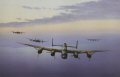 A flight of Lancaster bombers from a Bomber Command squadron climb away from the British coastline on yet another bombing raid on Nazi held Europe. A superb painting and a great tribute to the crews of the Lancaster bomber squadrons. ......