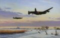 Avro Lancaster of Bomber Command take off on their next bombing misison over occupied Europe during the winter of 1943.......