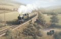 Great Western Railway 2-6-2T Prairie Tank locomotive no.4571 heads a two coach local train through hilly countryside on a cross-country route.  The driver of an Austin saloon car has pulled in off the road just in time for his sons to scramble up th......