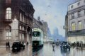 Liverpool English Electric tram no.762 turns into Castle Street on an Autumn evening in the 1950s.  No.762 was one of twelve bogie cars built in the 1930s.  On 14th September 1957, the last of the pool trams were withdrawn.......