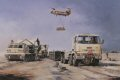 Dominating the foreground of his evocative painting of a typical resupply operation in the field are a Leyland Daf Drops vehicle from 12 Squadron, Royal Corps of Transport and a Multiple Launch Rocket System from 39 Heavy Regiment, Royal Artillery. ......