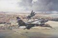 A striking portrayal of a simulated low-level attack by four Jaguars from RAF Coltishall, over the beautiful pastoral landscape of Kilduff, in East Lothian, Scotland. Since its introduction in the 1970s to front-line service in the ground attack; nuc......