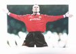The painting portrays the Manchester United midfielder and England Captain David Beckham celebrating after scoring from a trademark free kick.