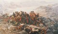 Last stand of the 44th (Essex Regiment) after their retreat from Kabul. This painting depicts an incident during the retreat from Kabul in the first Afghan War of 1839-1842, when the remnants of the 44th (East Essex) Regiment made a last stand at Gundamuck and were overwhelmed by Afghan tribesmen. In an attempt to save the Regimental Colour, Lieutenant T A Souter wrapped the flag around him. Seeing the ornately decorated cloth the Afghans believed him to be a high official and spared his life for ransom.