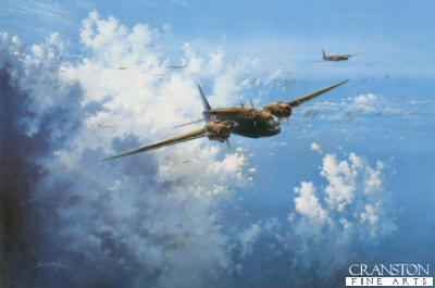 SPT8159. Target Heading by Simon Atack. <p>RAF Wellington Bombers of Bomber Command are shown after take off and on their way to their target.  With Bomber Command, Wellingtons flew 47,409 operations, dropped 41,823 tons of bombs and lost 1,332 aircraft in action.<b><p> Open edition. <p> Image size 16 inches x 24 inches (41cm x 61cm)