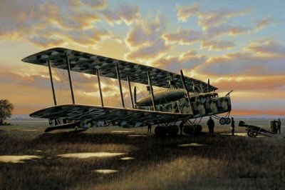 STK0002. Early Night Raiders by Stan Stokes. <p> One of the strategies utilized by the German military in WW I was the terror bombing of civilian targets in hopes of swaying popular opinion to permit favorable peace terms to be exacted. While this strategy was flawed, the principal instrument utilized in its implementation early in the War was the dirigible. While dirigibles had the range to hit targets in Britain, they became increasingly vulnerable to attack as fighter aircraft and ammunitions performance improved. One of the most successful developers and builders of these dirigibles was Count von Zeppelin. Zeppelin was a visionary in airship and aircraft design, and by the time WW I had begun his interest had largely shifted from lighter-than-air airships to more conventional aircraft designs. Zeppelin was well aware that his giant dirigibles had severe limitations in a military role, including their large size, slow speed, small payload capacity, and most important their high flammability. What was needed was a conventional aircraft capable of flying round-trip to strategic military targets that could carry a meaningful payload. Such aircraft would have to be fast enough and have sufficient defensive armament to evade or fend off enemy pursuit aircraft to complete their missions. The most impressive and successful aircraft in this class were built by the Zeppelin-Werke Staaken, a company formed by Zeppelin in Berlin with Robert Bosch as his partner. The company&#39;s first goal was to develop a long-range, six-engine, bomber/transport. By late 1915 German military authorities recognized the need for such aircraft and laid down specifications for their design. Included in the specs were the unique requirements for oxygen apparatus, in-flight servicing of the engines, and for both onboard navigational and communications apparatus. Called R-planes by the military, Zeppelin produced a series of three giants, commonly all referred to as Zeppelin-Staakens. Only one of the R-planes was actually downed by opposing fighters. The R.43 was downed while flying a night bombing mission on August 10, 1918 near Abbeville, England. The R. V series was the largest of the series, but only one aircraft was produced. With a wingspan in excess of 138 feet, it was powered by five 245-HP Maybach engines. Its gross weight at takeoff of more than 28,000 pounds was 15 to 20 times that of a typical fighter aircraft. Despite its size the wing loading of the Zeppelin-Staakens compared favorably to most fighter aircraft of the era. Shown in Stan Stokes&#39; painting is a Zeppelin-Staaken R. VI, the blunt-nosed, 4-engine, version of the German giants. This was the most widely built version of the Zeppelin-Staaken series. Preparing for a night bombing mission at dusk, the crew readies the massive aircraft for a long flight to a target in Britain. <b><p> Signed limited edition of 4750 prints.  <p> Print size 16 inches x 11.5 inches (41cm x 30cm)  Supplied with signed and numbered certificate of authenticity.