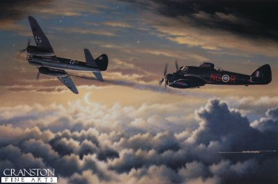 STK0114B. Double Trouble by Stan Stokes.<p> The Bristol Beaufighter was one of the most successful twin-engine fighters utilized by the RAF during WW II. The forerunner of the Beaufighter was the Bristol Beaufort, which was the first modern torpedo bomber to enter service. The Beaufort, known officially as the Type-152 was derived from the earlier Type-150, which in turn had been influenced by the Bristol Blenheim. About the time the first Beauforts were being flight tested, the aircrafts chief designer, Leslie Frise, commenced a study to see if the Beauforts airframe could be adapted to create a twin engine fighter design. The modified design (Type-156) incorporated a narrower fuselage, a shorter nose section utilizing a single-seat cockpit, and a dorsal observers position. The prototype Beaufighter made its first flight in July of 1939. A year of flight testing and refinement followed. Only Hercules III engines were available for the first production models. This gave the first marks performance roughly comparable to a Hawker Hurricane. Most Beaus were armed with four nose-mounted canon and an additional six machine guns in the wings. This gave the Beaufighter an impressive amount of firepower. As the Battle of Britain raged priority was given to modifying existing aircraft to the night fighter role. German bombers were relatively free from RAF fighters when attacking at night. The Beaufighter represented an ideal platform for this night fighter role. It was fast enough at 360-MPH to catch German bombers, it was heavily armed, and the observers position was an ideal spot to incorporate a radar operators controls. These night fighter versions were painted a matte black. On October 25, 1940 a Beaufighter recorded its first night victory. The Beaus utilized a transmitting antenna mounted on the nose, and receiving antennas mounted on the leading section of both wings. As the War progressed the Beaufighter would also become an important ground attack and fighter/bombe