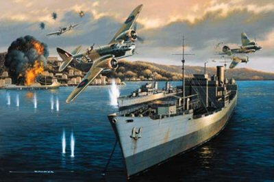 STK0134. Dangerous Duty by Stan Stokes. <p> Some of those most dangerous missions of WW II were the low level shipping attacks by Bristol Blenheims carried out against Axis shipping. These missions were important in the early stages of the War in the Mediterranean in terms of disrupting supply lines to Rommels troops fighting in North Africa. It was not uncommon for the RAF to lose 10-30% of the aircraft it sent on such missions.  One of the most successful of the RAFs Blenheim pilots was Sir Ivor Broom, who rose from the rank of Sergeant Pilot, completing three combat tours, including thirty-one low level attacks while based on the island of Malta. With all the officer pilots in his squadron either killed or missing in action, Broom received his commission. Allied interdiction efforts had become so successful that in October and November of 1941 only 25% of the supplies destined to supply Rommels armies in North Africa were getting through. The Germans decided to reroute their supply ships, opting for taking a longer route, but one which made Allied attacks much less likely. The Blenheimss of Brooms 107 Squadron had sufficient range to reach shipping targets off the Greek coast, but this necessitated a long over water flight and precise navigation. Brooms 43rd combat mission involved the attack on German ships at anchor in the harbor at Argostoli which was on the island of Cephalonia off the west coast of Greece. The ships there were forming a convoy which would make the dash to Benghazi. Six Blenheims from 107 and 18 Squadrons took part in the raid. With Broom in the lead the six attackers avoided the heavily armed coastal defenses by approaching the harbor from an inland direction. This required some highly skilled low level flying as they followed a road through a saddle in the hills. With the advantage of surprise on their side the six attackers swept down on the ships at anchor in the harbor at mast height. After releasing their bomb load the group executed a 