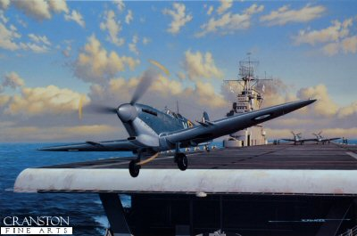 STK0135C. Stung by the Wasp by Stan Stokes. <p> The Axis attack on the British controlled island of Malta commenced in 1940 only one day after Mussolini committed Italy&#39;s forces on the side of the Germans during WW II. This strategically located island was a thorn in the side of Axis plans to dominate the Mediterranean and win control of North Africa. Malta would be attacked thousands of times by waves of both Italian and German bombers during the course of the War. On a per acre basis it may be one of the most bombed targets of WW II. In the early phases of the defense of the island a handful of Gloster Gladiators which were supplemented eventually by RAF Hurricanes carried on the brunt of the islands defense. Spitfires were sorely needed. The first Fifteen Spitfires arrived in Malta on March 7, 1942, and a second group of Spits arrived on March 29. In both cases they were launched from the HMS Eagle, and had to fly more than 600 miles over the Mediterranean to reach the island. In April of 1942, Churchill asked Roosevelt for assistance in supplying Spitfires to Malta. The besieged island was now in range of approximately 400 German fighters and bombers and about 200 Italian aircraft, and intelligence information pointed to the possibility of an invasion by airborne paratrooper forces out of Sicily. Due to combat losses, and the difficulty in getting spare parts, the islands defenders could generally muster only 20-30 defensive fighters on any particular day. This was woefully inadequate. With the Eagle was now laid up for repairs, and the Argus and Victorious not capable of handling the Spitfires. Churchill specifically requested American intervention, and asked FDR if the USS Wasp could shuttle fifty Spitfires to Malta. FDR agreed to the mission, and plans were immediately implemented. It was determined that two entire Spitfire squadrons No. 601 and 603 would make the journey. These units had a number of American pilots. On April 12 the Wasp docked on the Cly