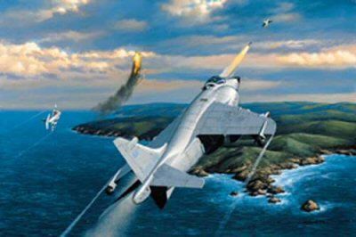 STK0147. Harried Argentineans by Stan Stokes. <p> On May 1, 1982 two Royal Navy British Aerospace Sea Harrier FRS1s, piloted by F/Lt. Paul Barton and Lt. Steve Thomas encountered two Argentinean Mirage III fighters near the Falkland Islands. The Mirage fighters were piloted by Capt. Garcia Cuerva and Lt. Carlos Perona. The two jets approached the airspace around Task Force 317, which was sailing to the Falklands to retake them from occupying Argentine forces.  Sea Harriers were launched to intercept the Mirage fighters. The Mirages fired first at about five miles distance, but their missiles failed to lock on to their targets. Turning to the left the Mirage jets soon found the two Harriers on their tails. Barton fell in behind Perona and Thomas took a bead on the jet flown by Cuerva. Firing their Sidewinder, air-to-air, missiles, the Harrier pilots got a hit on Peronas Mirage. Perona ejected from his aircraft and came down in shallow water near West Falkland Island. Cuervas Mirage was damaged by the missile fired by Thomas, and he attempted to fly his damaged aircraft back to his base. Cuerva was unfortunately shot down and killed by his own anti-aircraft fire. During the Falklands War the Brits thoroughly outclassed the Argentine Air Force. The British forces without the loss of a single aircraft downed a total of 22 Argentine aircraft. Lt. Thomas downed three aircraft during the conflict, the most for any one pilot. Although the Harriers had a slower top speed than the aircraft they encountered during the War, they succeeded because their pilots were better trained for air-to-air combat, and their missiles were more effective. The Harrier was the worlds first operational V/STOL (vertical/short take-off and landing) aircraft. It evolved from the Hawker P.1127, which first flew in 1960. The Harrier proved itself in combat for the first time during the Falklands War. The aircraft and its pilots demonstrated that the V/STOL fighter could hold its own against much fast