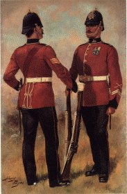UN006.  South Wales Borderers by Harry Payne. <b><p>Open edition print. <p> Image size 7 inches x 12 inches (18cm x 31cm)