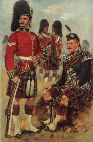 UN036.  Cameron Highlanders by Harry Payne. <b><p>Open edition print. <p> Image size 7 inches x 12 inches (18cm x 31cm)